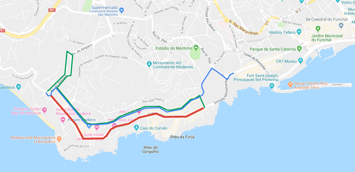 Interrupção automóvel no Funchal no dia 20 de abril